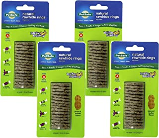 (4 Pack) PetSafe Busy Buddy Refill Ring Dog Treats for select Busy Buddy Dog Toys, Peanut Butter Flavored Natural Rawhide, Size A