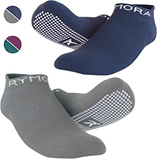 Rymora Non Slip Grip Socks for Women and Men (2 Pairs) - Perfect for Hospital, Yoga, Trampoline, Barre & Home