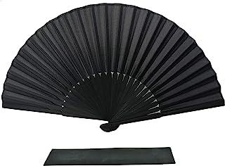 FANSOF.Fans Ventilador de Mano Plegable Tela de Seda Negra Costillas de bambú Ventilador Chino de Mano con una Bolsa de M...