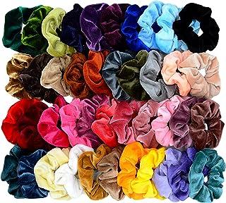 Mincheda 42 Pcs Hair Scrunchies Thick Korea Velvet Elastics Bobbles Hair Bands Scrunchy Hair Ties Ponytail Holder Scrunchie for Women Girls Hair Accessories- 42 Assorted Colors Scrunchies