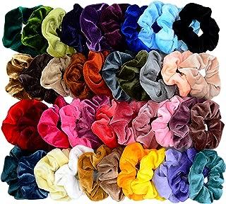 Chloven 42 Pcs Hair Scrunchies Thick Korea Velvet Elastics Bobbles Hair Bands Scrunchy Hair Ties Ponytail Holder Scrunchie for Women Girls Hair Accessories- 42 Assorted Colors Scrunchies