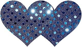 Nippies Style Navy Blue Sequins Heart Waterproof Self Adhesive Nipple Cover Pasties