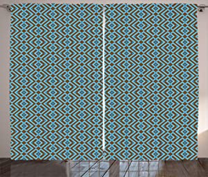 Kenneth Camilla Nested Square Pattern Curtain,Adjustable Tie Up Shade Rod Pocket Curtains,72 x 96 inchs