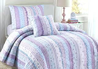 Cozy Line Home Fashions Raelynn Romantic Lace Light Lavender Orchid Blue Flower Print Stripe Cotton 3D Bedding Quilt Set, ...