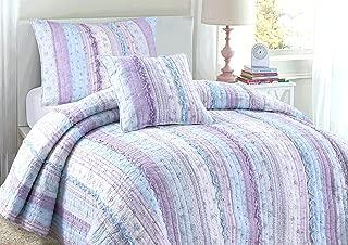 light blue and purple bedding