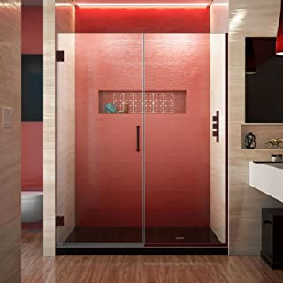 DreamLine Unidoor Plus 58-58 1/2 in. W x 72 in. H Frameless Hinged Shower Door, Clear Glass, Oil Rubbed Bronze, SHDR-245807210-06
