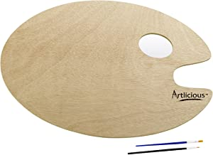 Artlicious - Over-Sized Oval Shaped Wooden Palette 11.75 inch x 15.75 inch - Use with Acrylic, Watercolor, Oil Paints & Br...