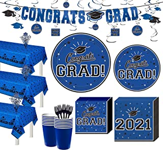 Party City Super Congrats Grad Blue 2021 Graduation Party Supplies for 54 Guests with Tableware and Decorations
