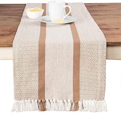 Sticky Toffee Cotton Woven Table Runner with Fringe,  Traditional Diamond Tan,  14 in x 72 in