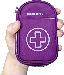 "Auvi Q Case, Travel Medical Bag – Small Medication Organizer Insulated Medicine Bag ""Kate"" Purple Mini Medic Pouch: Asthma Inhaler Case for (Small EpiPens), Allergy Meds, Nasal Sprays or More"