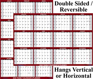 32x48 SwiftGlimpse 2020 Wall Calendar Erasable XXL Jumbo Wet & Dry Erase Laminated 12 Month Planner, Reversible Horizontal/Vertical - Maroon