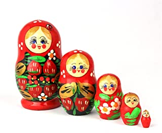 Heka Naturals Matryoshka Russian Nesting Dolls with Ladybug Classic Babushka Hand Made in Russia 5 Pieces 9 cm Wooden Gift Toy