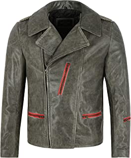 70'S RETRO COLLARED JACKET GREY COW Leather Classic Biker Fashion Vintage Jacket