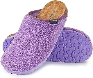 Dunlop Ciabatte Donna, Pantofole Invernali con Pelliccia, Babbucce Antiscivolo con Soletta Memory Foam, Ciabatta da Casa, ...