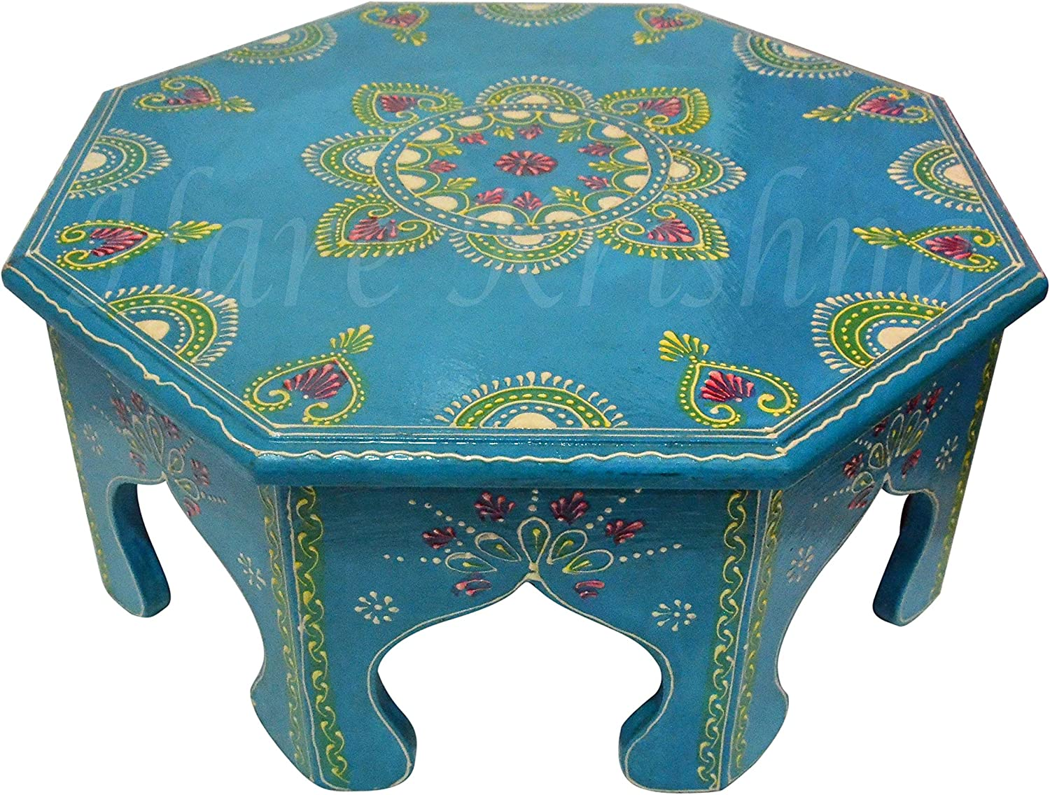 Indian Wooden Side Table Hallway Corner Furniture Hand Painted Chowki Bajot (Turquoise) 14 x 14 x 6 Inches