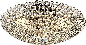 [lux.pro] Lampada da soffitto in cristallo - Vapora - (3 attacchi E14)(16 cm x Ø 40 cm) Plafoniera Attacco a morsetto Lampada da camera Lampada da soggiorno