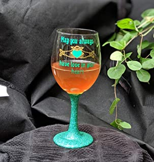 Irish Claddagh Irish St. Patrick's Day Glitter Stem Wine Glass | May You Always Have Love in Your Heart | Celtic | Celtic Heart