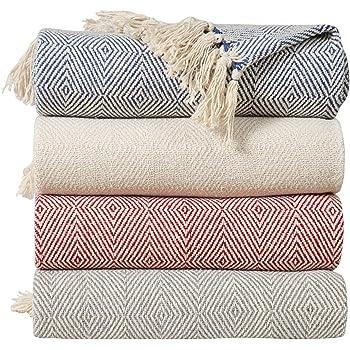 EHC - Manta para sofá (algodón, 125 x 150 cm), Color Gris, algodón, 125 x 150 cm/Single: Amazon.es: Hogar