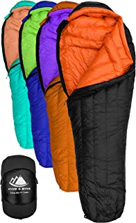 Hyke & Byke Eolus 15 & 30 Degree F 800 Fill Power Hydrophobic Goose Down Sleeping Bag with ClusterLoft Base - Ultra Lightweight 3 Season Men's and Women's Mummy Bag Designed for Backpacking