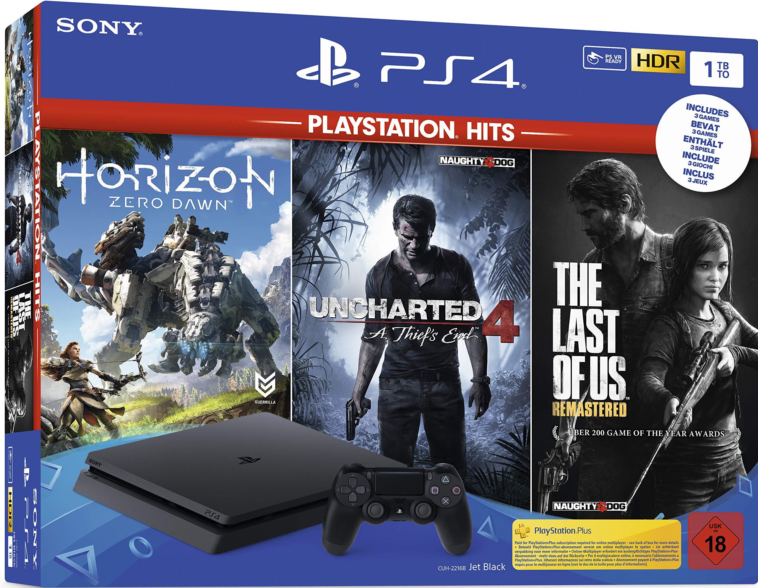 PlayStation 4 - Hits Bundle (1TB, schwarz, slim) inkl. Uncharted 4 ...