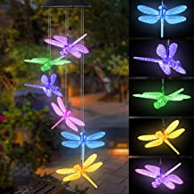 Topspeeder Color Changing Dragonfly Wind Chime Spiral Spinner Wind Mobile Portable Waterproof Outdoor Decorative Romantic Wind Bell Light for Patio Yard Garden Home (Dragonfly)