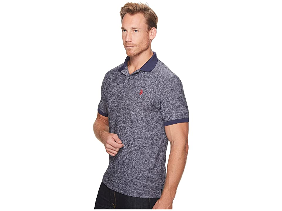 U.S. POLO ASSN. Classic Fit Solid Short Sleeve Poly Pique Polo Shirt (Classic Navy) Men's Short Sleeve Pullover