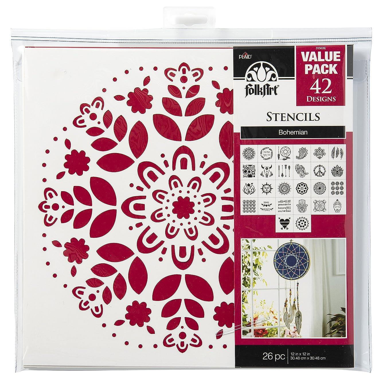 FolkArt 31563E Die Cut Paper, Bohemian Value Pack, 12 x 12-Inch Stencils (Pack of 26), 12