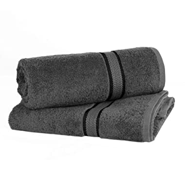 COTTON CRAFT - 2 Pack Ultra Soft Oversized Extra Large Bath Sheet 35x70 Charcoal - Weighs 33 Ounces - 100% Pure Ringspun Cotton - Luxurious Rayon Trim, Ideal for Everyday use - Easy Care Machine wash