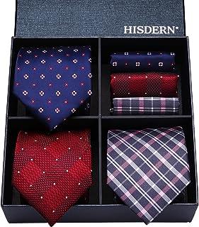 comprar comparacion HISDERN Lote 3 PCS Corbata Conjunto masculino Negocio clasico del banquete de boda Lunares Compruebe raya de color solido ...