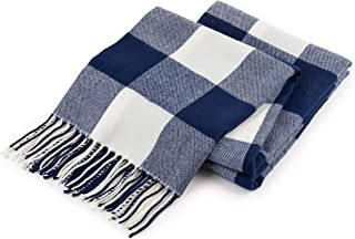 Good MANORS Buffalo Check Plaid Throw Blanket, Ultra Lightweight for Summer, Modern Farmhouse Decor for Couch, Bed, Living Room, Outdoor, Woven Soft Faux Cashmere, 50