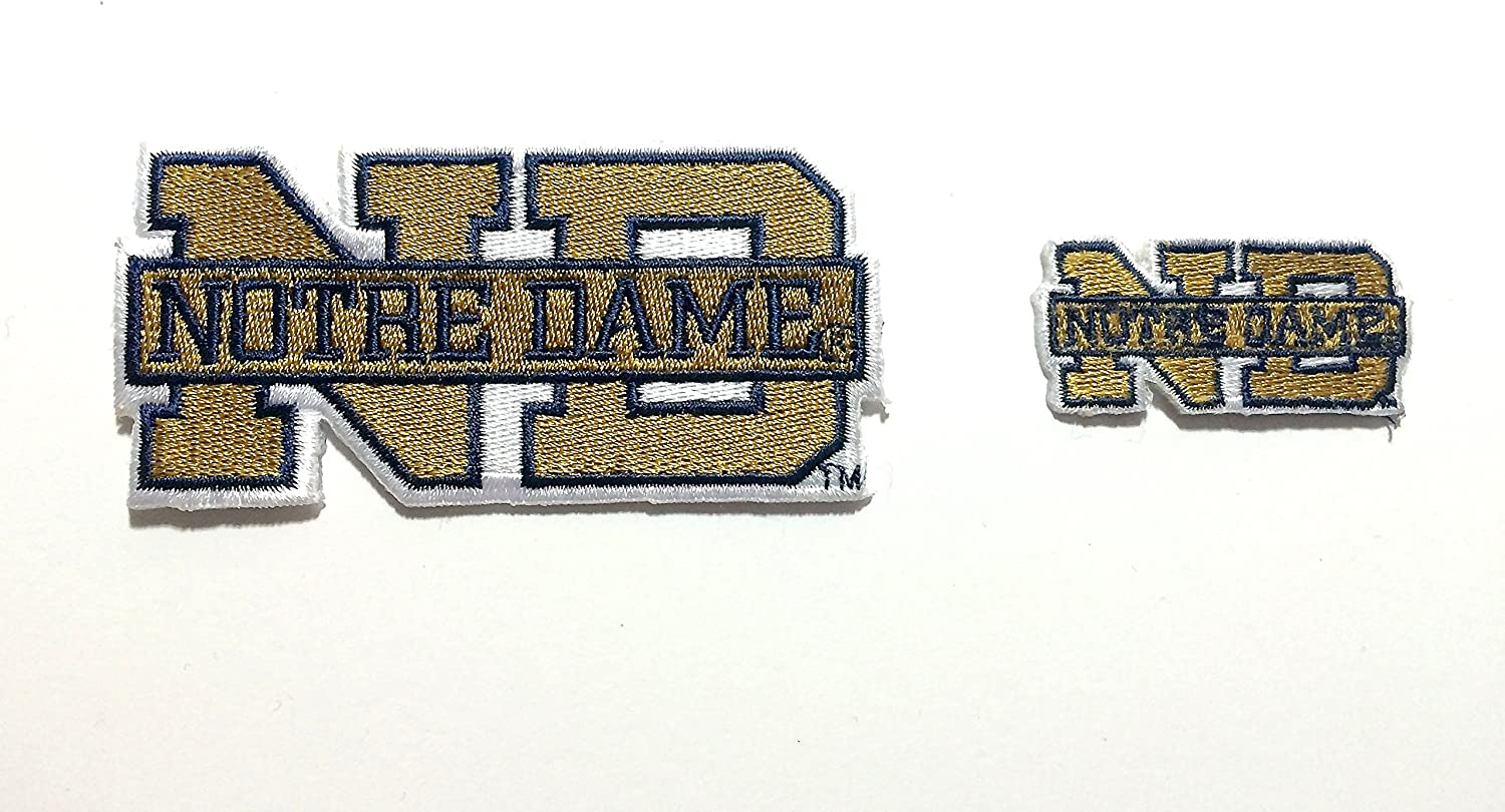 Notre Free shipping Max 90% OFF Dame Embroidered Iron on Patch Nd Fighting Pat Irish 2 Set