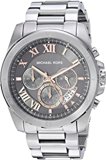 Men's Brecken Analog-Quartz Watch with Stainless-Steel Strap, Silver, 23.5 (Model: MK8609)