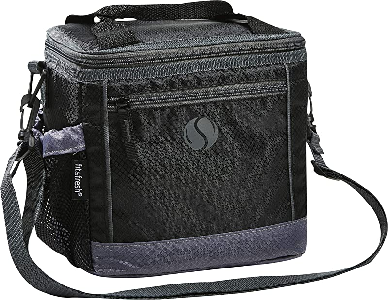 Fit Fresh Sport Lunch Bag Small Insulated Cooler Bag 6 Can Capacity Adjustable Shoulder Strap Black With Gray Trim