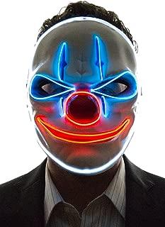 Light Up Evil Clown Mask, Evil Tongue Grin Purge