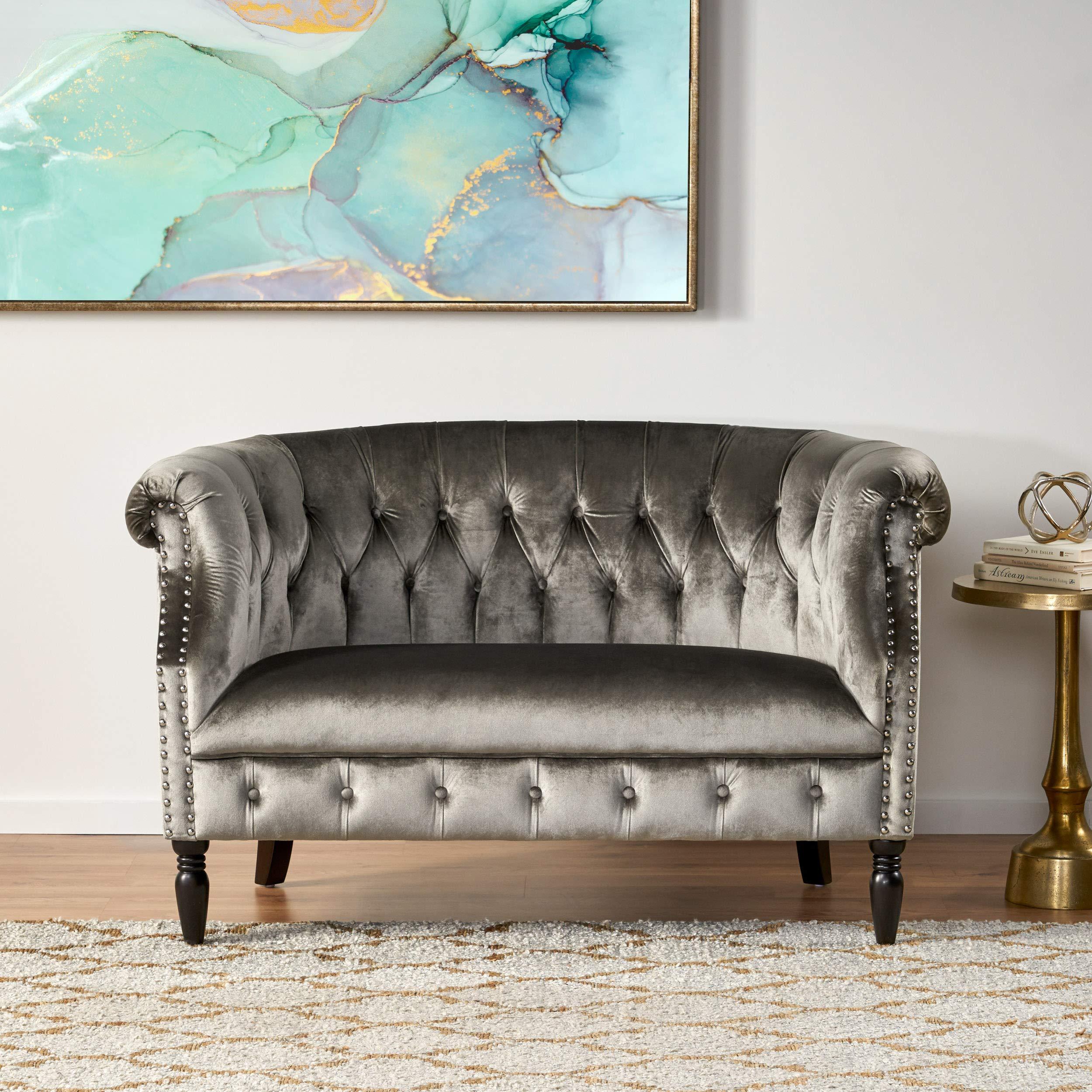 Christopher Knight Home Milani Tufted Scroll Arm Velvet Loveseat Grey Dark Brown Furniture Decor