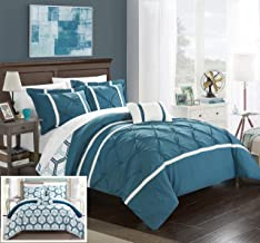 Chic Home Marcia 3 Piece Reversible Comforter Set Super Soft Microfiber Pinch Pleated Ruffled Design with Geometric Patterned Print Bedding with Decorative Pillows Shams, Twin Blue