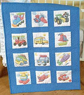 Jack Dempsey Needle Art 30079 Nursery Quilt Transportation Blocks, 12 Quilt Blocks, 9-Inch-by-9-Inch, White