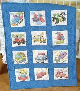 Jack Dempsey Needle Art 30079 Nursery Quilt Transportation Blocks, 12 Quilt Blocks, 9-Inch-by-9-Inch, White