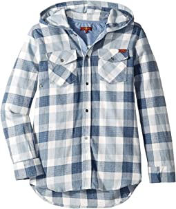Flannel Plaid Hooded Sport Shirt (Big Kids)