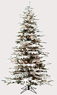 9.0' Flocked Bavarian Pine, Pre-Lit Artificial White Christmas Tree, 800 Clear Lights Stay on if Bulb Burns Out! Fresh Snowfall Look and Over 1,800 Tree Tips, Storage Bag, Top Choice for Designers