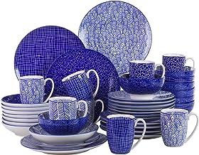 vancasso takaki Porcelana Set Vajilla de Cocina, Juego de Vajilla Porcelana 40 Piezas para 8 Personas, Contiene Tazas de Café, Platos de Postre, Cuencos, Platos Hondos y Llano