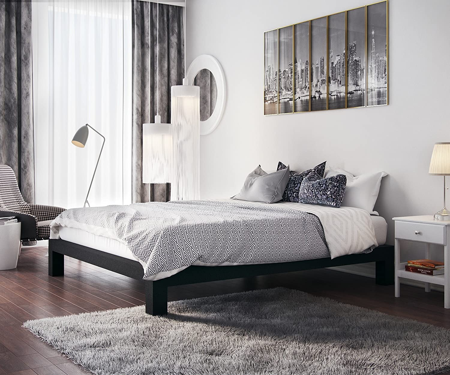 In Brand new Style Furnishings Stella Modern Time sale Low Slats Thick Profile Metal