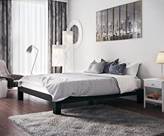 In Style Furnishings Stella Modern Metal Low Profile Thick Slats Support Platform Bed Frame - King Size, Black
