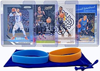 Oklahoma City Thunder Basketball Cards: Russell Westbrook, Paul George, Steven Adams, Dennis Schroder, ASSORTED Basketball Trading Card and Wristbands Bundle