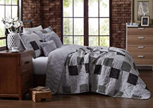 Avondale Manor Evangeline 4 pc Reversible Printed Patchwork Quilt with Throw Pillows Bedding Set Twin Dark, Microfiber Pol...