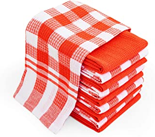 Chef Pomodoro Everyday Kitchen Towels 10 Pack Waffle Dishcloth 15 In X 25 In Pack of 10 Orange
