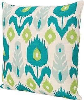 وسادة مربعة الشكل مقاومة للماء من Great Deal Furniture 305797 Oprah مقاس 45.72 سم، باللون الأزرق المخضر والأخضر المطبوع،