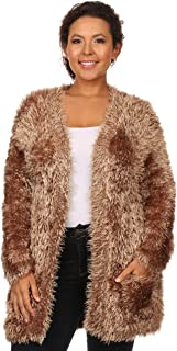 C.O.C. Curve Womens Plus Size High Pile Knit, Open Cardigan with Pockets Mocha - 2X