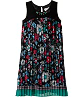 Us Angels - Pleated Floral Print A-Line Dress (Big Kids)