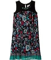 Us Angels - Pleated Floral Print A-Line Dress (Big Kids)
